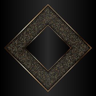 Fondo decorativo dorado y negro con marco dorado metálico