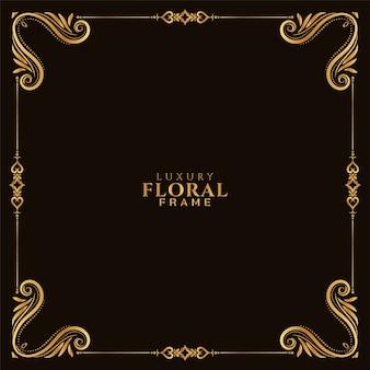 Fondo decorativo elegante marco floral dorado