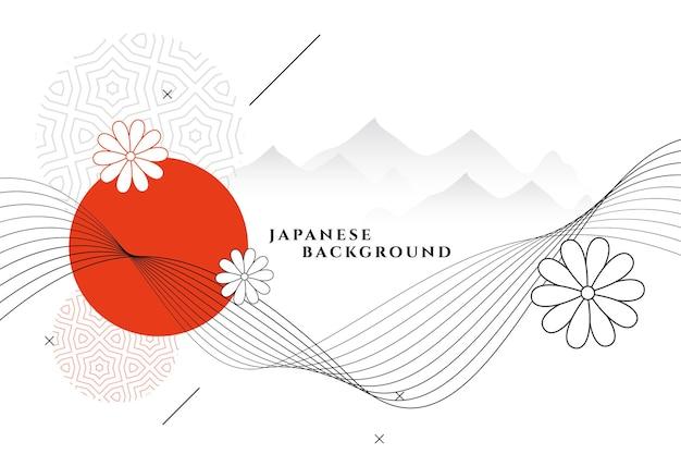 Fondo decorativo de estilo japonés con flores y montañas.