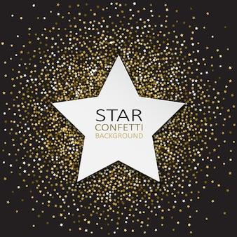 Fondo decorativo con estrella y confeti