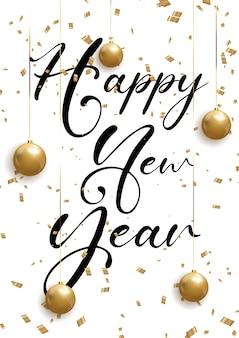 Fondo decorativo feliz año nuevo con confeti y adornos colgantes