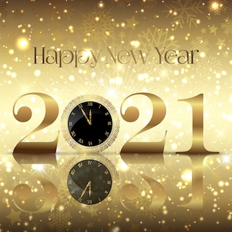 Fondo decorativo feliz año nuevo con reloj