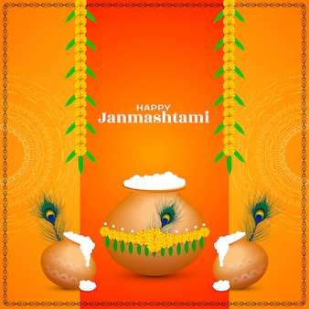 Fondo decorativo feliz festival indio janmashtami