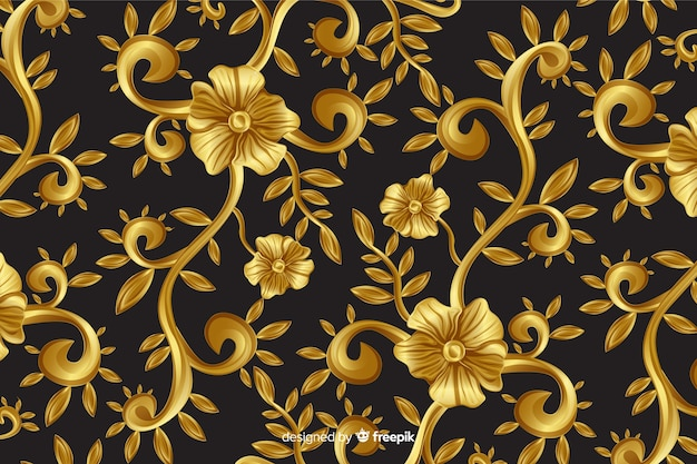Fondo decorativo floral ornamental dorado.