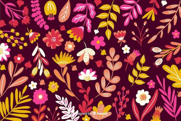 Fondo decorativo de flores de colores planos