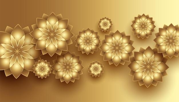 Fondo decorativo de flores doradas 3d realista