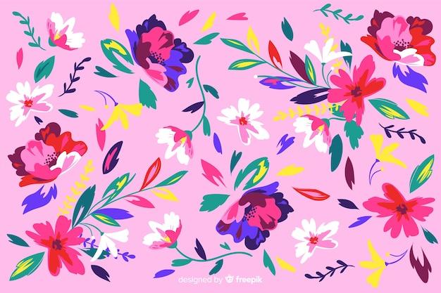 Fondo decorativo de flores pintadas de colores