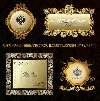 Fondo decorativo de glamour vintage marco dorado