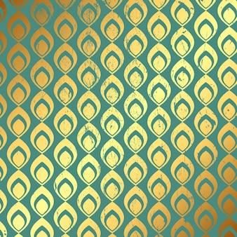 Fondo decorativo grunge con el patrón oro y verde azulado