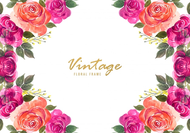 Fondo decorativo hermoso del marco floral de la boda colorida