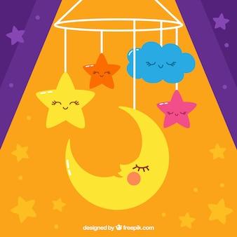 Fondo decorativo de luna linda y estrellas