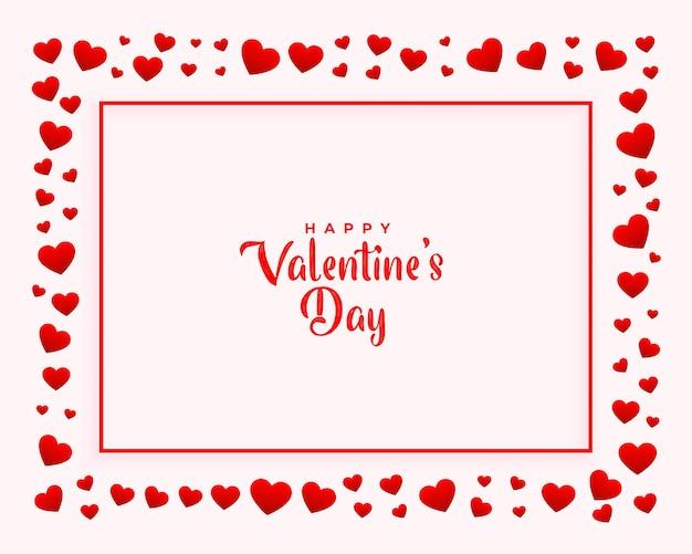Fondo decorativo del marco de corazones del día de san valentín