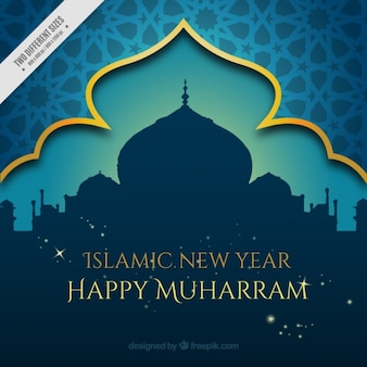 Fondo decorativo de muharram con mezquita