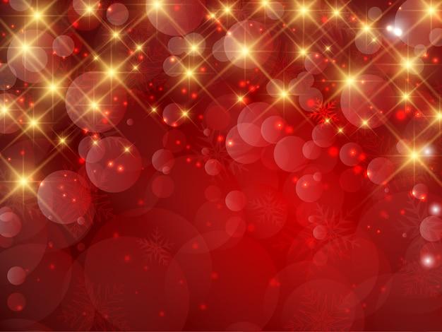 Fondo decorativo de navidad de copos de nieve y estrellas