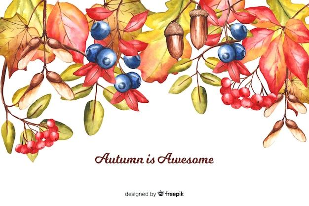 Fondo decorativo de otoño estilo acuarela