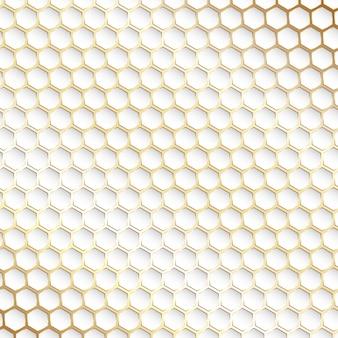 Fondo decorativo de patrón hexagonal dorado y blanco