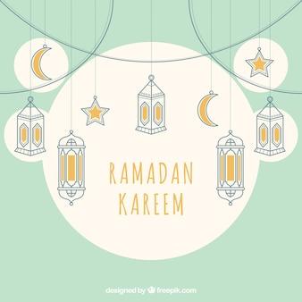 Fondo decorativo de ramadán con elementos colgando