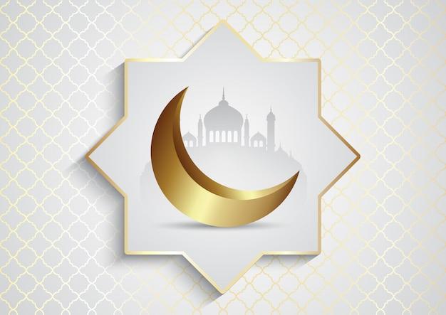 Fondo decorativo para ramadán kareem con mezquita y luna creciente