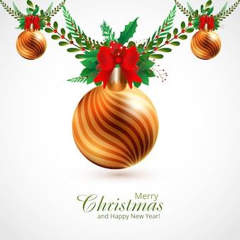 Fondo decorativo de ramas y bolas de adornos navideños
