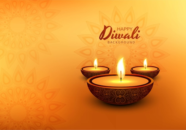 Fondo decorativo de la tarjeta de la celebración del festival de diwali de la lámpara de aceite