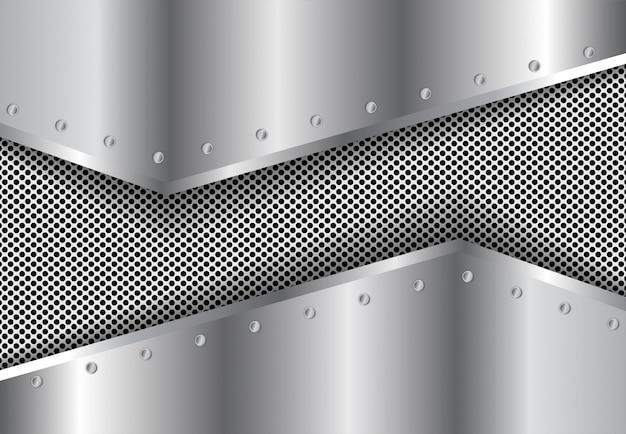Fondo degradado 3d de metal plateado