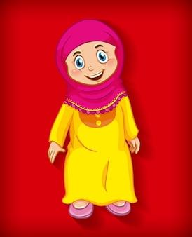 Fondo degradado de color de personaje de dibujos animados musulmán femenino