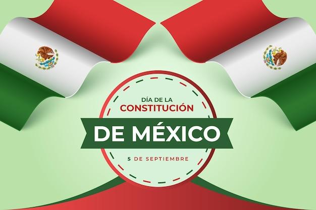 Fondo degradado del día de la constitución con bandera mexicana