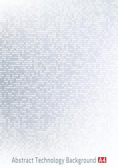 Fondo de degradado digital de píxeles de círculo de tecnología gris claro abstracto.