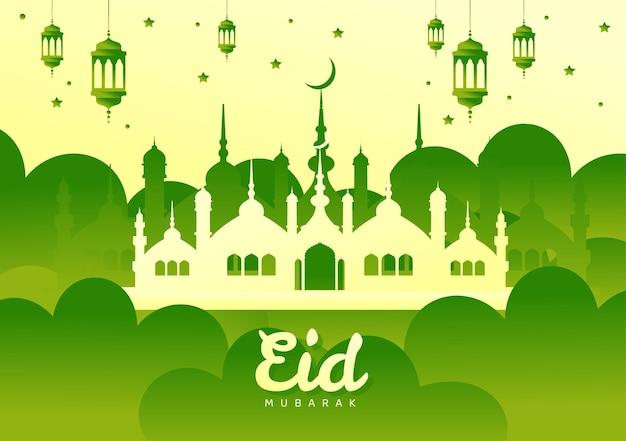 Fondo degradado de eid mubarak