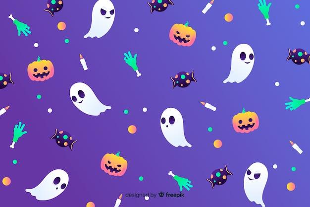 Fondo degradado de elementos de halloween