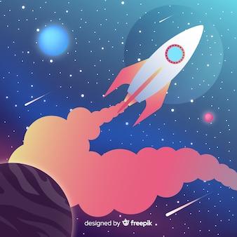 Fondo degradado del espacio con cohete