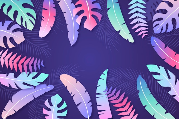 Fondo degradado de hojas tropicales