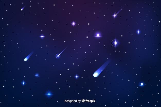 Fondo degradado de noche estrellada con galaxia