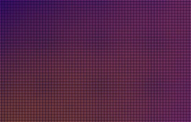 Fondo degradado de pantalla led, puntos de monitor púrpura, naranja y rosa. primer plano de la macrotextura de la pantalla. concepto de tecnología moderna, telón de fondo de televisión rgb.