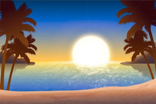 Fondo degradado playa puesta de sol paisaje
