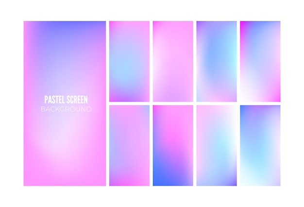 Fondo degradado suave en colores hologramas. diseño de papel tapiz para aplicaciones móviles.