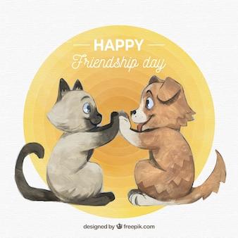 Fondo del día de la amistad con gato y perro lindos dibujados a mano