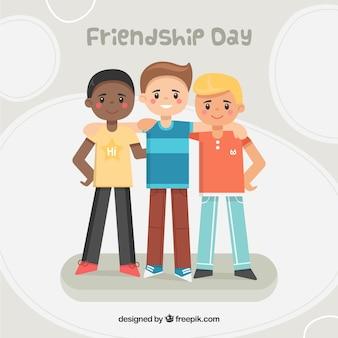 Fondo del día de la amistad con tres niños