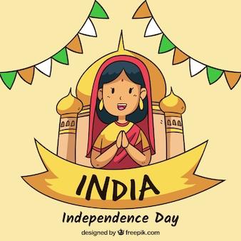 Fondo del día de la independencia de la india con chica enfrente de monumento