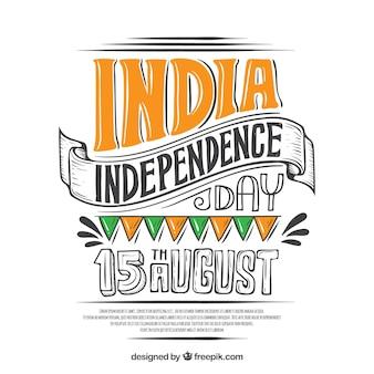Fondo del día de la independencia de la india dibujado a mano
