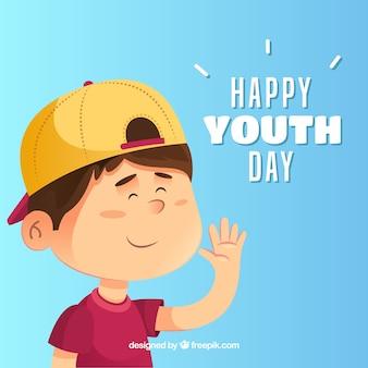 Fondo del día de la juventud con niño feliz
