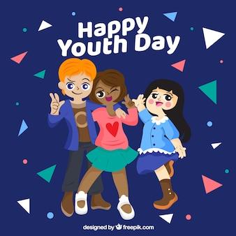 Fondo del día de la juventud con tres niños