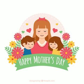 Fondo del día de la madre con linda familia