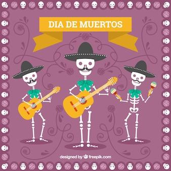 Fondo del día de muertos con esqueletos mariachi