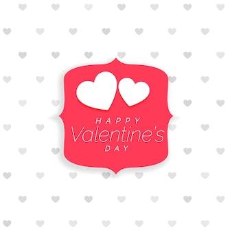 Fondo del día de san valentín con patrón de corazones y etiqueta