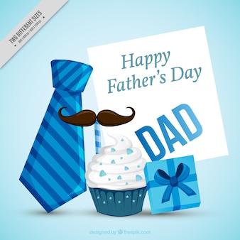 Fondo del día del padre con artículos decorativos en tonos azules