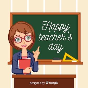 Fondo del día del profesor con profesora guapa