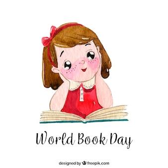 Fondo del día internacional del libro con una niña linda