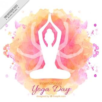 Fondo del día internacional del yoga en acuarela