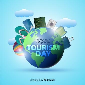Fondo del día mundial del turismo en estilo realista